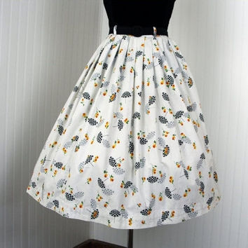 1950s Skirt - Vintage 50s Skirt - Umbrella Novelty Print Cotton XS - City of Rain and Roses