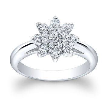 Ladies 14k white gold fashion statement ring with 0.60 ctw G-VS2 pave diamonds shared prong flower design