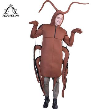Cool TOPMELON Cockroach Cosplay One Piece Jumpsuit Adult Costumes Brown Insect Roach Halloween CostumeAT_93_12