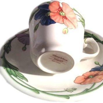 Set of 5 Villeroy & Boch Amapola Cups & Saucers