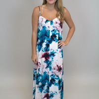 Turquoise + Coral Floral Maxi