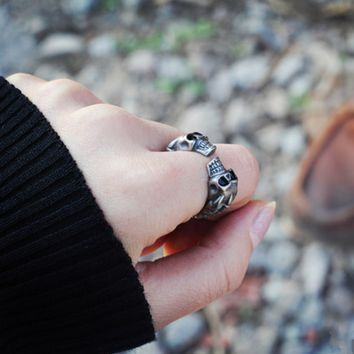Personality Punk Wind Skull Head Retro Unisex Ring Couple Little Finger Ring Open Ring