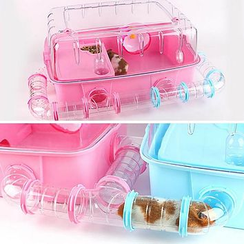 Hamster Toy Pipe Acrylic Transparent Tube Hamster Toys Small Animal Hamsters Cage Tube Toy 1Pcs