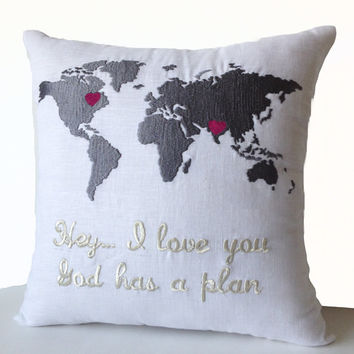 Linen Pillow Cover -World Map With Heart, Custom Message Embroidery -20x20 -Long Distance Relationship Pillow Love Pillow-Valentine -Wedding