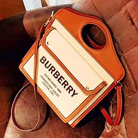 Burberry New fashion letter print leather contrast color high quality shoulder bag women