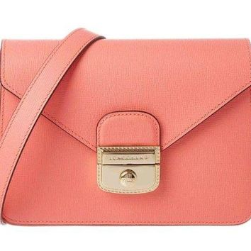ONETOW Longchamp Le Pliage Heritage Small Leather Crossbody in Coral