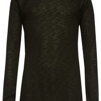 Full Tilt Essential Waffle Knit Girls Raglan Tee Black  In Sizes