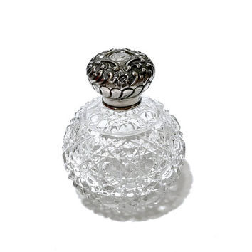 "Antique Sterling Perfume Bottle, English Cut Crystal, Scent Bottle, Art Nouveau, Circa 1903, Hallmarked, Initials ""E B"""