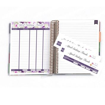 "April Sinking Funds, Transaction Log, EC Stickers, Planner Stickers For Erin Condren Deluxe Monthly Planner,7x9"" & 8.5x11"":  SQ-06"