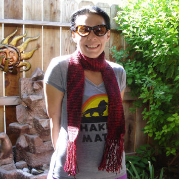 Crochet Red Soft Skinny Scarf Multicolored - mosaic - red - burgundy - fall -holiday - maroon - rouge - christmas - winter - women - hipster