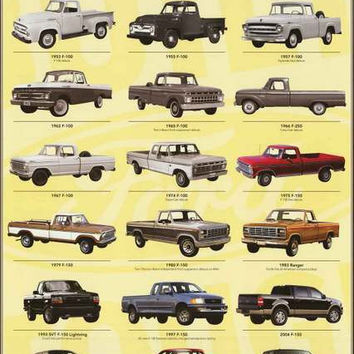 Ford F-Series Truck Evolution 1925-2013 Poster 24x36