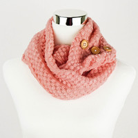 Coral Pink Knit Scarf Knit Infinity Scarf Knitted Scarf Crochet Scarf Knitted Infinity Scarves Sale Gifts under 20 Gifts for Her Loop Circle