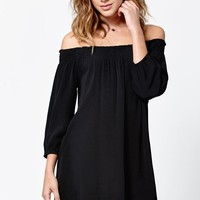 LA Hearts Smocked Off-The-Shoulder Dress - Womens Dress - Black