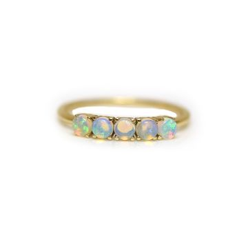 14kt Gold Opal Lovers Bridge Band