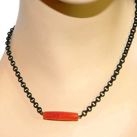 Sideways Pendant Necklace, Red And Black Jewelry, Black Chain, Red Agate Pendant