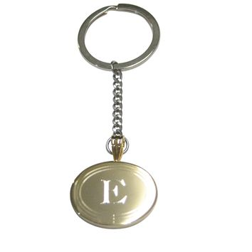 Gold Toned Etched Oval Letter E Monogram Pendant Keychain