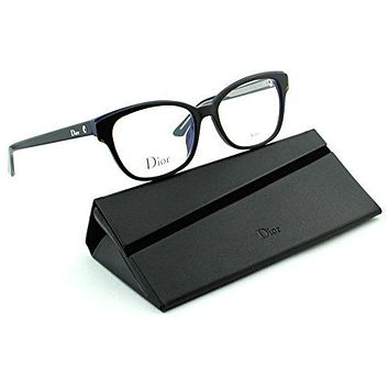Dior Montaigne 3 Women Cateye Eyeglasses (Havana Blue Black Crystal Frame (0G9Z), 52)