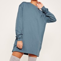 Missguided - Oversized Long Sleeve Jumper Dress Blue
