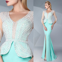 Mint Green Couture 2016 Prom Dresses Pearls Beaded V-Neck Thigh-High Split Evening Gowns Floor Length Mermaid Red Carpet Dress