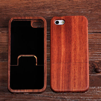 Real Nature Handmade Bamboo Wood Case Cover For iPhone 5 5s Cherry Wooden Phone Shell