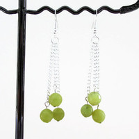Lime Jade earrings, semi precious gemstone chain earrings, lime green jade, day wear earrings, Silver plated jewellery, handmade in the UK