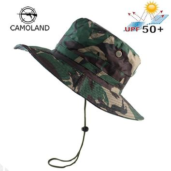 Waterproof UPF50 Tactical Airsoft Sniper Camouflage Boonie Hats Military Army Mens Bucket Hat Military Fishing Hiking Sun Hats