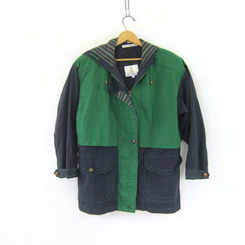 20% OFF SALE vintage oversized colorblock jacket // blue and green cotton coat / women's size S