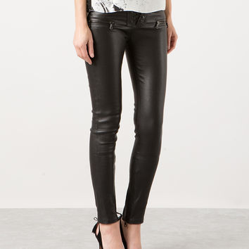 UNRAVEL BLACK STRETCH LEATHER PANTS