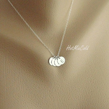 FOUR Sterling silver Initial Necklace Monogram Charm by hotmixcold