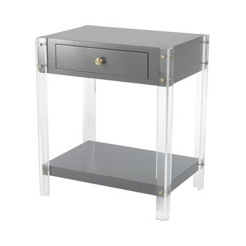 Gothenburg 1 Drawer Accent Table Grey,Clear