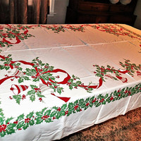 Christmas Holiday Vintage Tablecloth Silver Bells, Red Bells, Holly and red ribbon for Christmas Dinner