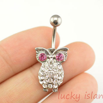 little owl belly button rings,owl bellybutton jewelry,navel ring,body piercing,friendship bellyring