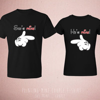 Disney Matching Couple T Shirts - Cute Couples Pointing Mine Mickey & Minnie Mouse Black Tops Romantic Clothing