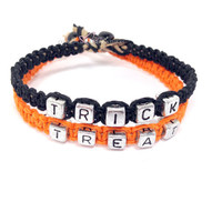 Trick or Treat Bracelets, Halloween Bracelets, Couples Bracelets, Halloween gift ideas