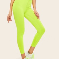 Neon Lime Lettering Tape Waist Leggings