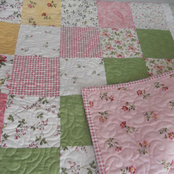 Feminine Lap Quilt Sofa Throw Cottage Chic Roses Flowers Pastel Pink Rose Gold Olive