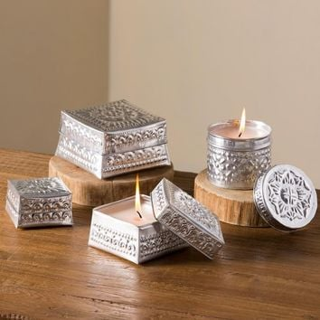 Hand-Stamped Aluminum Candle Holders | VivaTerra