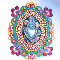 Mexicolor Mosaic Wall Hanging with Sacred Heart Milagro