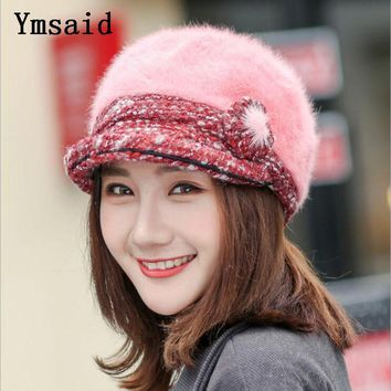 Ymsaid Women Beret For Women Autumn&Winter Hat Thick Warm Vintage caps Soft Felt Wool Rabbit Hat Ladies Fashion Classic Berets