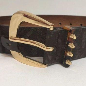 Michael Kors Belt Brown Mk Logo Print With Gold Buckle With Studded Loop