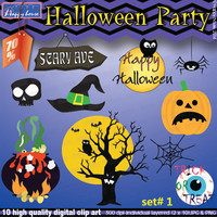 70% OFF SALE! Halloween Party Digital Clipart commercial/personal use, instant download Hallowen craft creations party printable