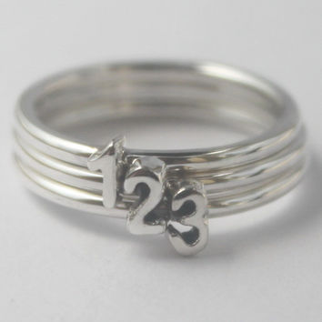 Sterling silver personalized custom stacking rings with one initial/number each, Monogram, Alphabet ring, Love letter Perfect gift