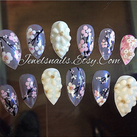 Handpaint Cherry blossoms , 3D Sculpted acrylic , Spring nails, Stilleto nails , Press on nails, False nails, Fake nails, Gel nail art