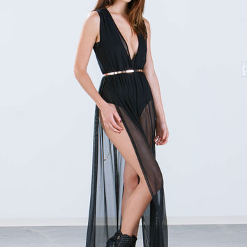 Multitask Bodysuit Mesh Maxi Dress GoJane.com