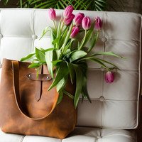 Distressed Leather Tote Bag in Copper