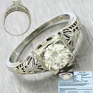 1920s Art Deco 18k White Gold 1.01ct Round Cut Diamond Filigree Engagement Ring