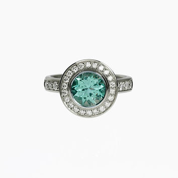 2.52ct Light green tourmaline engagement ring, diamond halo ring, white gold, green tourmaline halo, diamond, bezel engagement, mint green