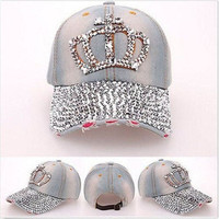 Women Rhinestone Crown Studded Denim Peaked Baseball Tennis Adjustable Hat Cap