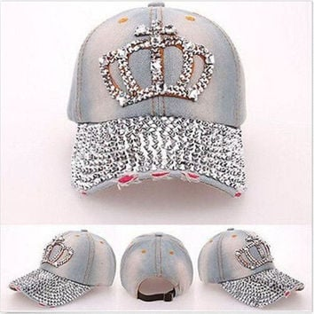 Women Rhinestone Crown Studded Denim Peaked Baseball Tennis Adjustable Hat Cap = 5708449729