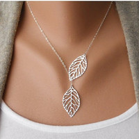 2015 Brand Designer Free Shipping Women Fashion Simple 2 Leaves Choker Necklace Collar Statement Necklace Women Jewelry Gift